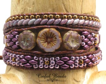 BOHO LEATHER WRAP Bracelet-Beaded Leather Wrap-Hawaiian Flower-Czech Glass Button-Leather Wrap-Boho Wrap-Wrap Bracelet-Leather Cuff-(TW32E)