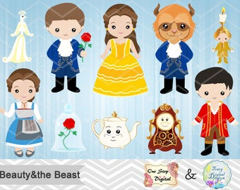 Digital Beauty and the Beast Clip Art, Instant Download Beauty and the Beast Clipart, Beauty and the Beast Party Princess Belle Clipart 0142