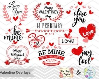 Digital Valentine Clipart, Happy Valentine's Day Photo Overlay Red Black Valentine Wording Instant Download Red Black Valentine Clipart 0211