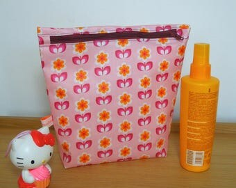 "Special pouch was printed cotton ""pink flowers on bottom"""