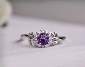 Amethyst Ring Amethyst Engagement Ring/ Wedding Ring High Quality Sterling Silver Ring Promise Ring Anniversary Ring