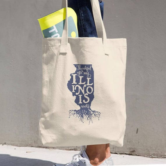 Tote Bag Illinois Roots Made in the USA Cotton Tote Bag - Makes a Great Grocery Bag - Classic All-purpose Natural Cotton Tote