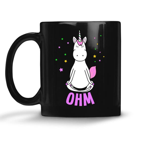 Black Coffee Mug Unicorn Yoga