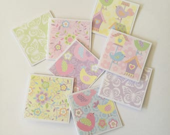 Bird cards, Baby shower cards, pastel cards, mini card set, gift cards, thank you cards, note cards, mini notes, set of 8