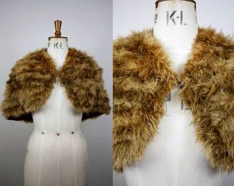 1940s Marabou Feather Cape / 40s Brown Feather Stole / Marabou Capelet / One Size / Ostrich Down Shrug / Vintage Bride / S M L
