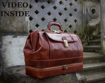 Leather Doctor Bag,large brown leather medical bag,leather bag, Briefcase,handbag -The Master and Margarita