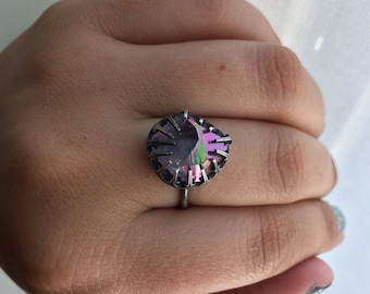 Aura Amethyst Sterling adjustable Ring (ring sizes 3-7)