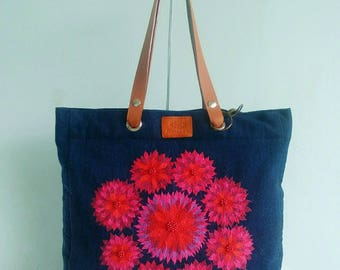 Embroidery flowers Tote bag ,Shoulder bag, Embroidery flowers by hands on jean fabric, midnight blue color.