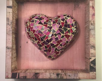 pink and red glass heart
