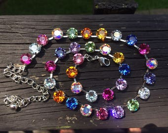 Multi color rainbow Swarovski crystal necklace 8mm silver setting