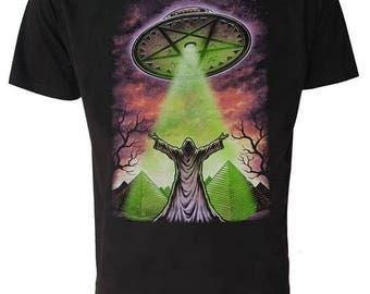 UFO T SHIRT Occult Satanic Goth Grim Reaper Sci Fi