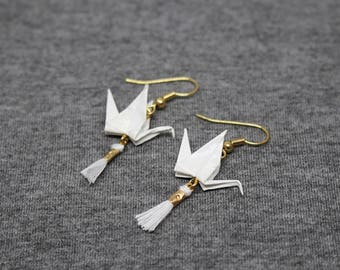Earrings gold and white Origami Cranes in papierjaponais