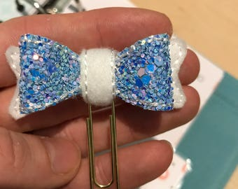 White and Blue Glitter Planner Bow Clip - Paper Clip - Bookmark