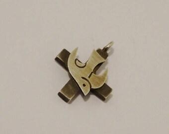 ON SALE Vintage Sterling Silver Peace Dove Cross Pendant.