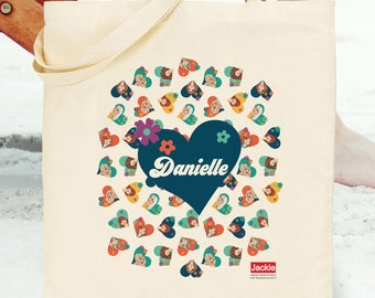 Jackie 'Ditsy Heart' Tote Bag (An Official Jackie product personalised with any name)