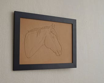 A4 size leather horse portrait