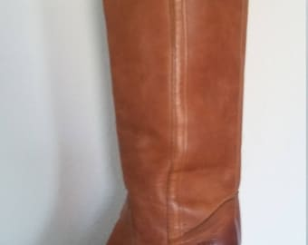 Vintage Frye 1970s Size 6 Knee High Tan Beige Leather Riding Cowboy Boots