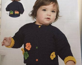 Crochet pattern baby jacket blooms and beeps for hook sizes 3 and 4 mm DMC yarn Natura Just Cotton design Lynne Watterson Level intermediate