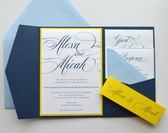 Navy Wedding Invitations Blue And Yellow