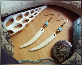 Gold, Bone, & Coconut Wood Earrings, Bone Jewelry, Bone Earrings, Minimalist Jewelry, Tribal Jewelry, Bohemian Earrings, Bone Earring, Bone