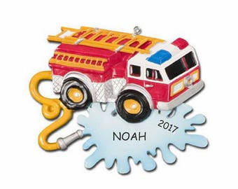 Personalized Firetruck Kids Christmas Ornament