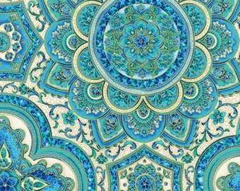 Villa Romana Blue Cotton Fabric / Peacock Fabric / Robert Kaufman 17055 78 Fabric by the yard, Yardage & Fat Quarter Fabric