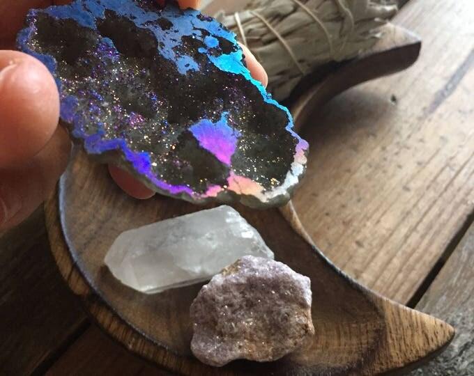 Courage Gemstones | Spiritual Junkies | Reiki Love Infused | Angel Aura Agate Geode, Lepidolite, Quartz Crystal + Sage Smudge | Altar