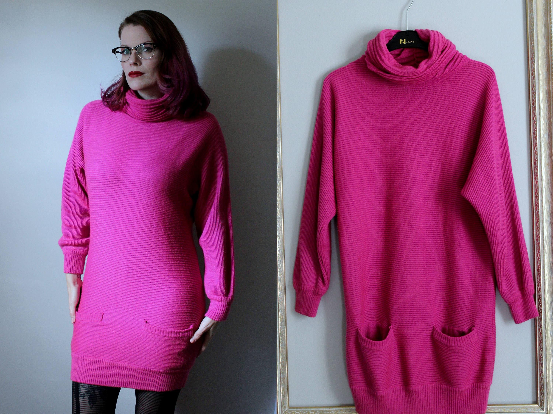 Vintage Hot Pink Sweater Dress // 1980's Turtleneck Mini