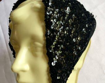 Sequin Bandana,Sequin Scarf,Black Sequin Scarf,Black Sequin Bandana,Sparkly Black Scarf,Sparkly Black Bandana,Evening Scarf,70s Scarf,AS IS