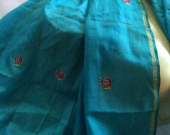 Aqua Scarf,Blue India Scarf,Iridescent Blue Scarf,India Silk Scarf,Turquoise Scarf,Silk Aqua Wrap,India Blue Shawl,Sparkly Blue Scarf