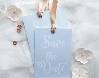 Save the Date tag- light blue and coral