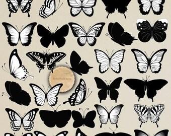 30%OFF Digital Butterfly Clip Art Butterfly Silhouette Scrapbook Butterfly Element Black White Butterflies 30 PNG Elements Buy 2 Get 1 FREE