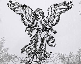 Christmas Angel with violin Machine Embroidery Design