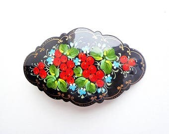 Red berries painted hair clip, russian barrette, floral hairpin, wooden painted hair clasp, ashberry painting