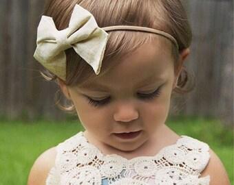 Gold Shimmer Sparkle Cream Hair Bow Nylon Headband or Clip Newborn / Baby / Girls / Adult