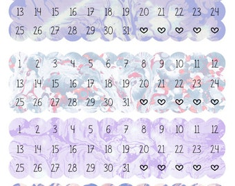Water Colour Effect - Lilac, Date Dots, Date Covers for ECLP, Happy Planner, Monthly Views or TN's