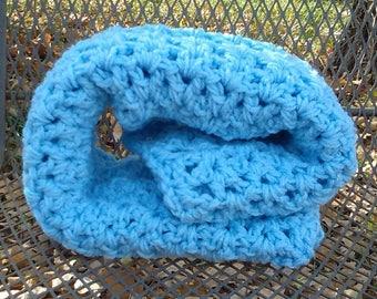 Handmade Baby Blue Soft Crochet Knit Blanket Throw Blanket Chunky Blanket Baby Nursery Baby Shower Gift Handmade Crochet Ready to Ship