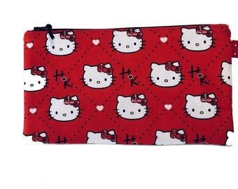 Hello Kitty Multi Purpose Zipped Bag, Makeup Bag, Small Craft Project Bag, Gadget Bag, Pencil Case, Handmade in the UK