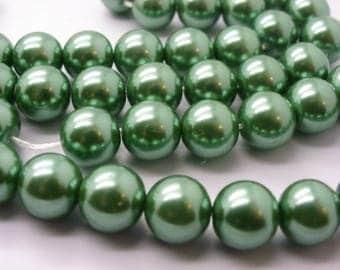 50 nacre10 mm light green glass 10 mm beads
