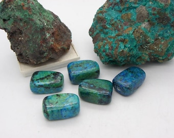 chrysocolla rectangle green stone 18x24mm 5 stones natural