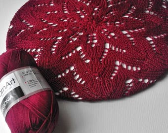 Laced beret in color of rotten cherry - Summer beret - Cotton  beret - French beret - Knit Beret Hat - Summer accessories - Boho