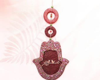 "Wall Hamsa - ""Two birds in a branch"" home blessing. polymer clay hamsa, fimo hamsa - FREE SHIPPING"