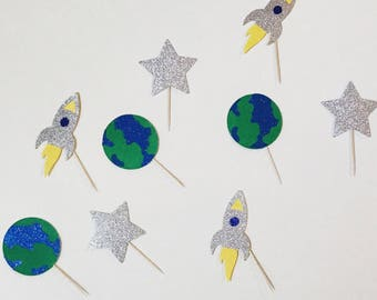 Out of this World Space Cupcake toppers; Space Birthday; Space Decor; Rocket Ship Topper; Star Topper; Earth topper;Astronaut Party;Birthday