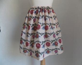 cute and quirky jim beam bourbon handmade skirt one size