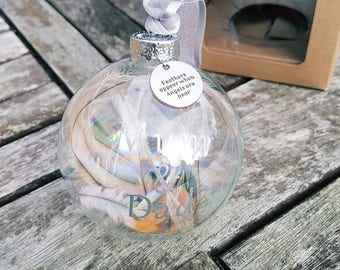 feathers appear when angels are near personalized glass bauble / glass ball / animal friendly feather / cruelty free / remembrance