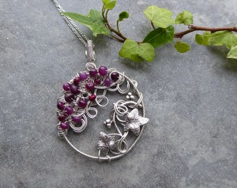 Ruby Tree of Life Pendant, Ivy Leaf Pendant, Leaf Jewelry, Ruby Necklace, Wire Wrapped Jewelry, July Birthstone Gift