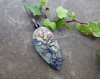 Rainbow Labradorite Tree of Life Pendant, Carved Leaf Pendant, Sterling Silver Leaf Pendant, Silver Leaf Jewelry, Yggdrasil Pendant