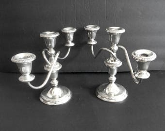 Frank Whiting sterling silver pair of candelabrs - each with three candle holders