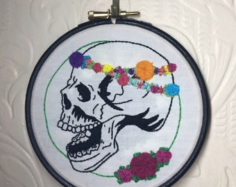 Floral Skull Hand Embroidery
