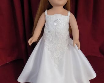 Venetian Beauty in white on white--Free Veil--Fits American Girl, Journey Girl, Our Generation, My Life and other 18 inch dolls